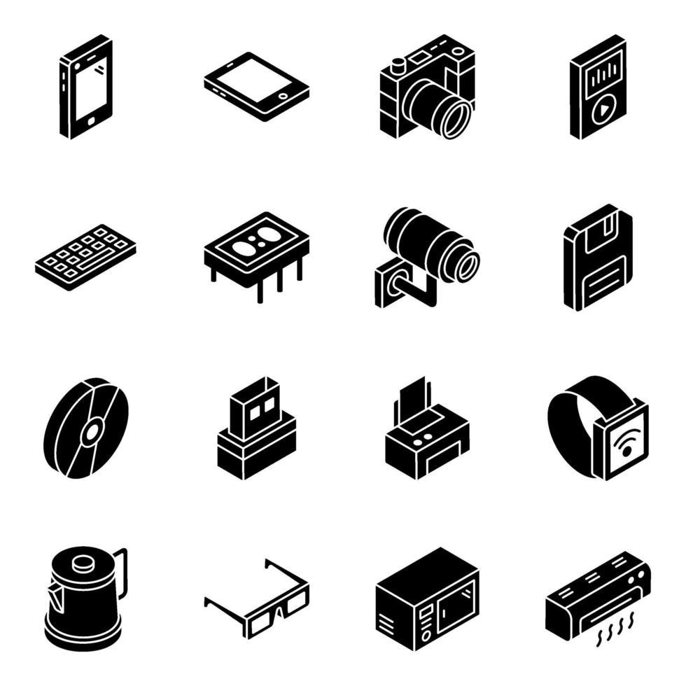 conjunto de iconos isométricos de elementos de electrodomésticos vector