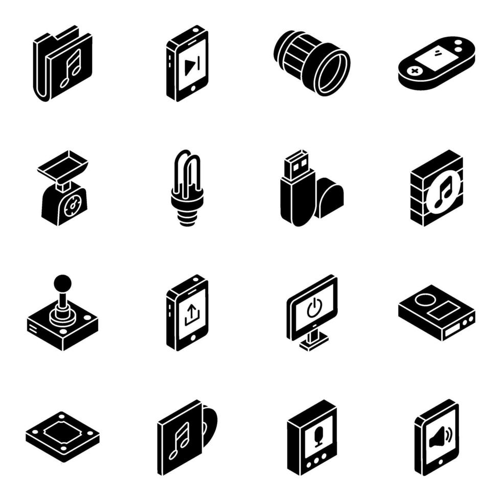 aplicaciones móviles y conjunto de iconos isométricos de almacenamiento de datos vector