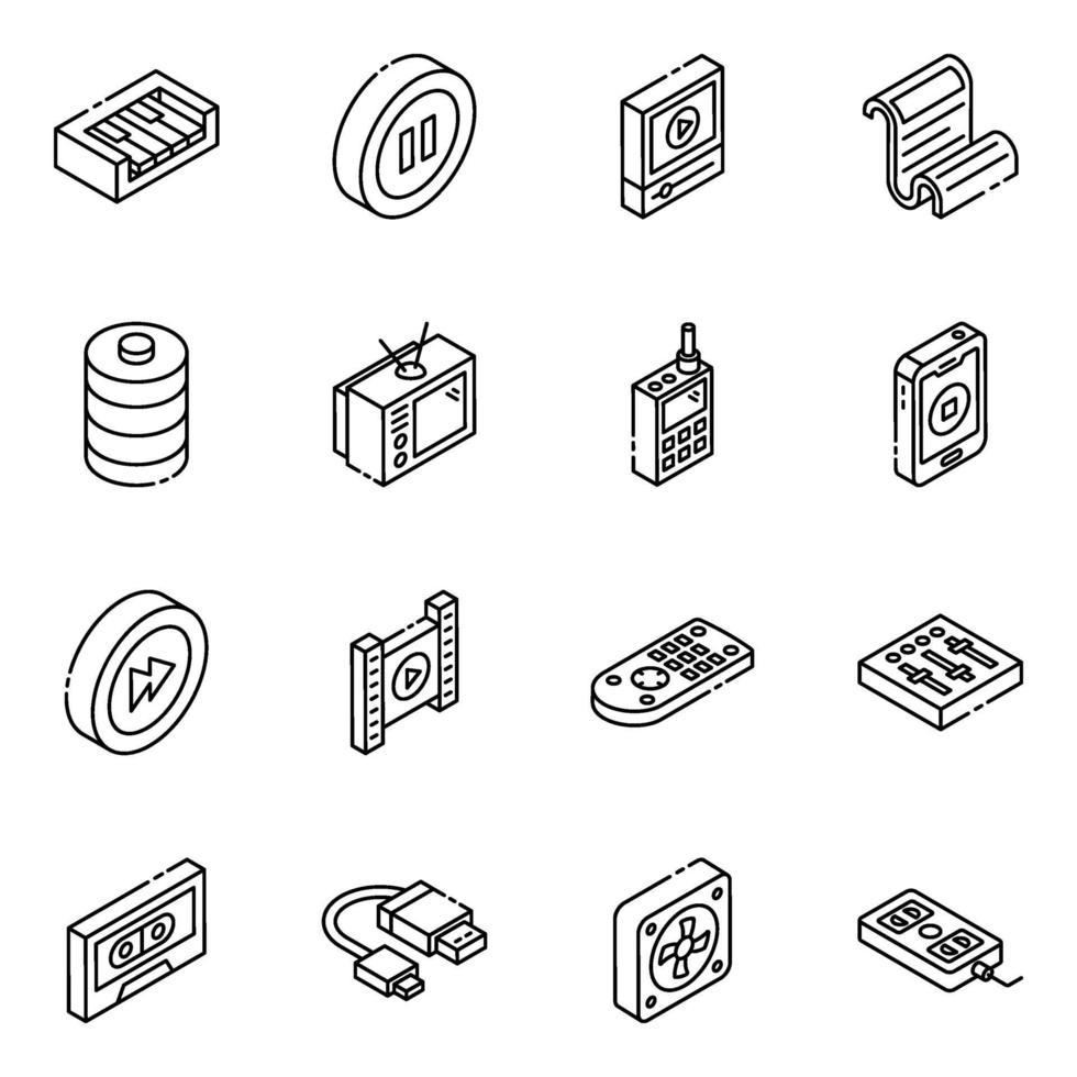 electrónica y dispositivos conjunto de iconos isométricos vector