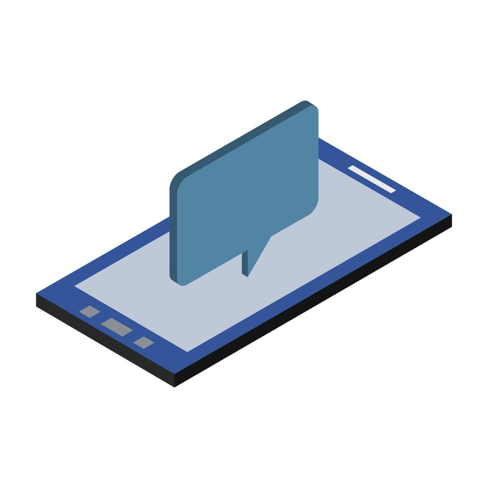 nube de diálogo isométrica en el teléfono inteligente vector