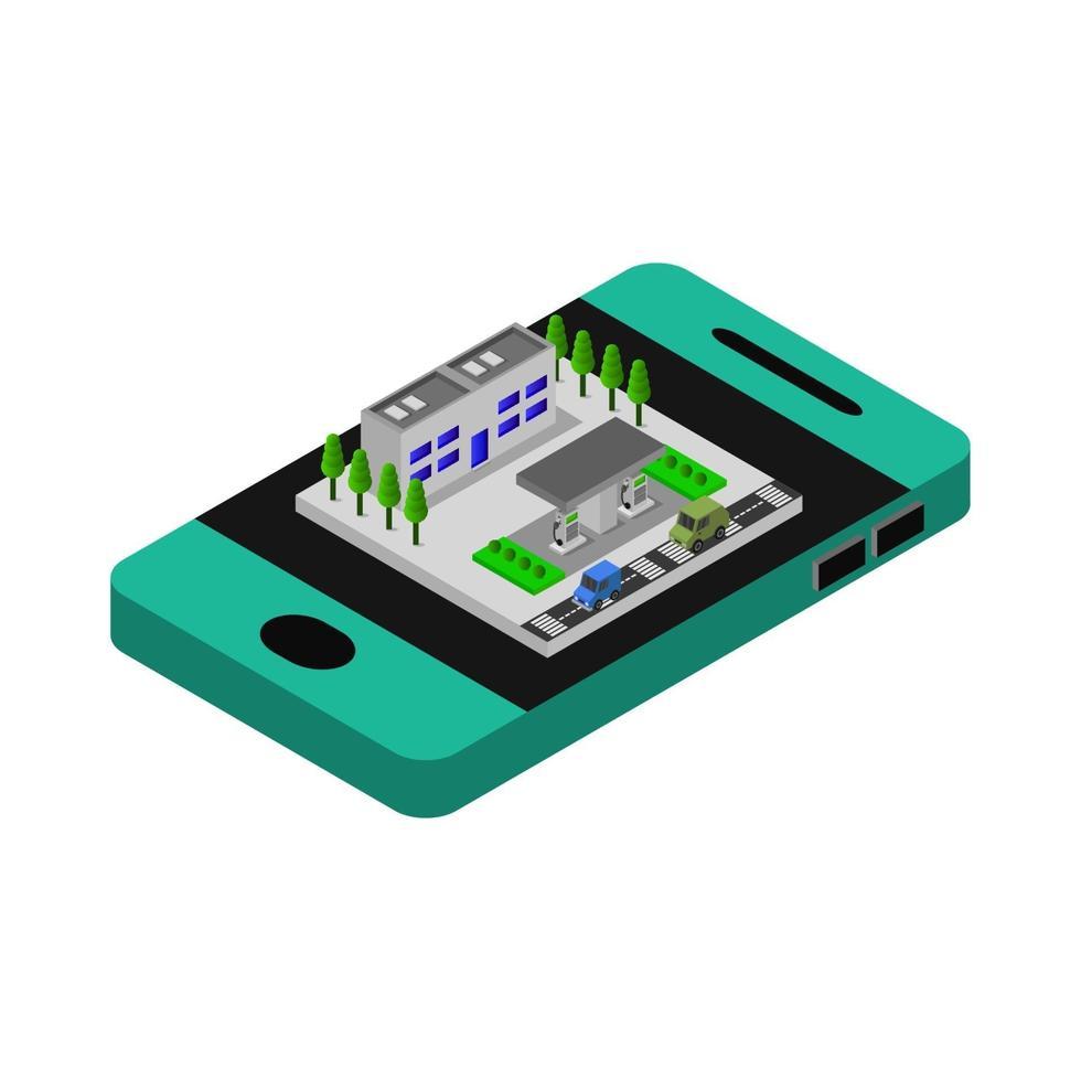 gasolinera isométrica en smartphone vector