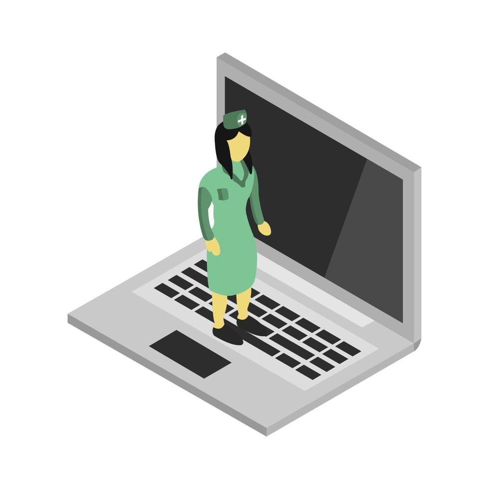 doctor isométrico en la computadora portátil vector