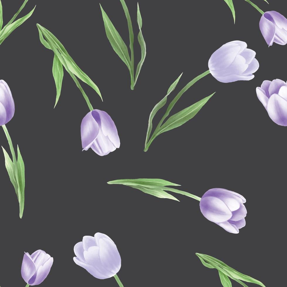 hermoso, tulipán, acuarela, seamless, patrón vector