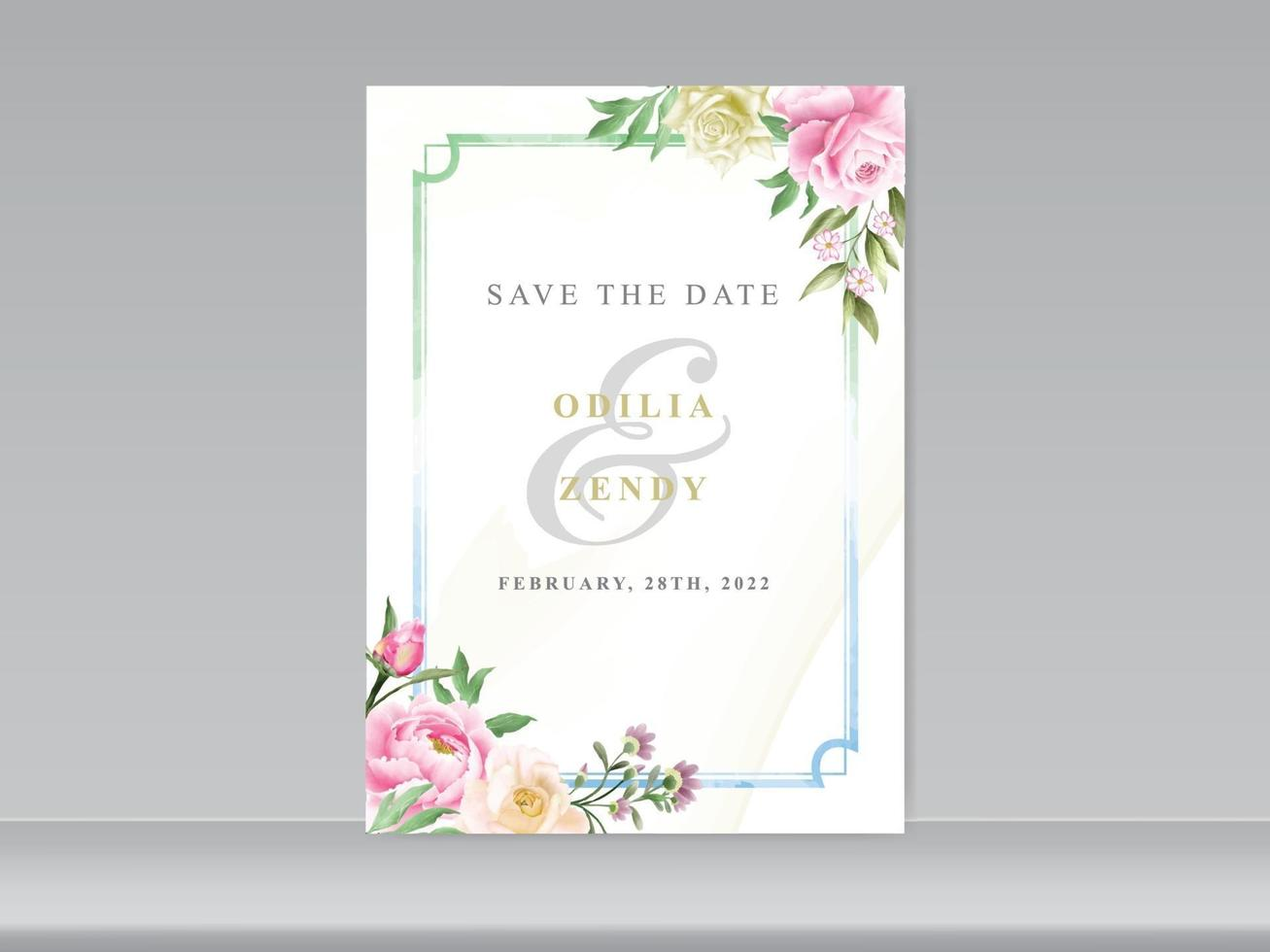 tarjeta de boda romántica floral acuarela vector