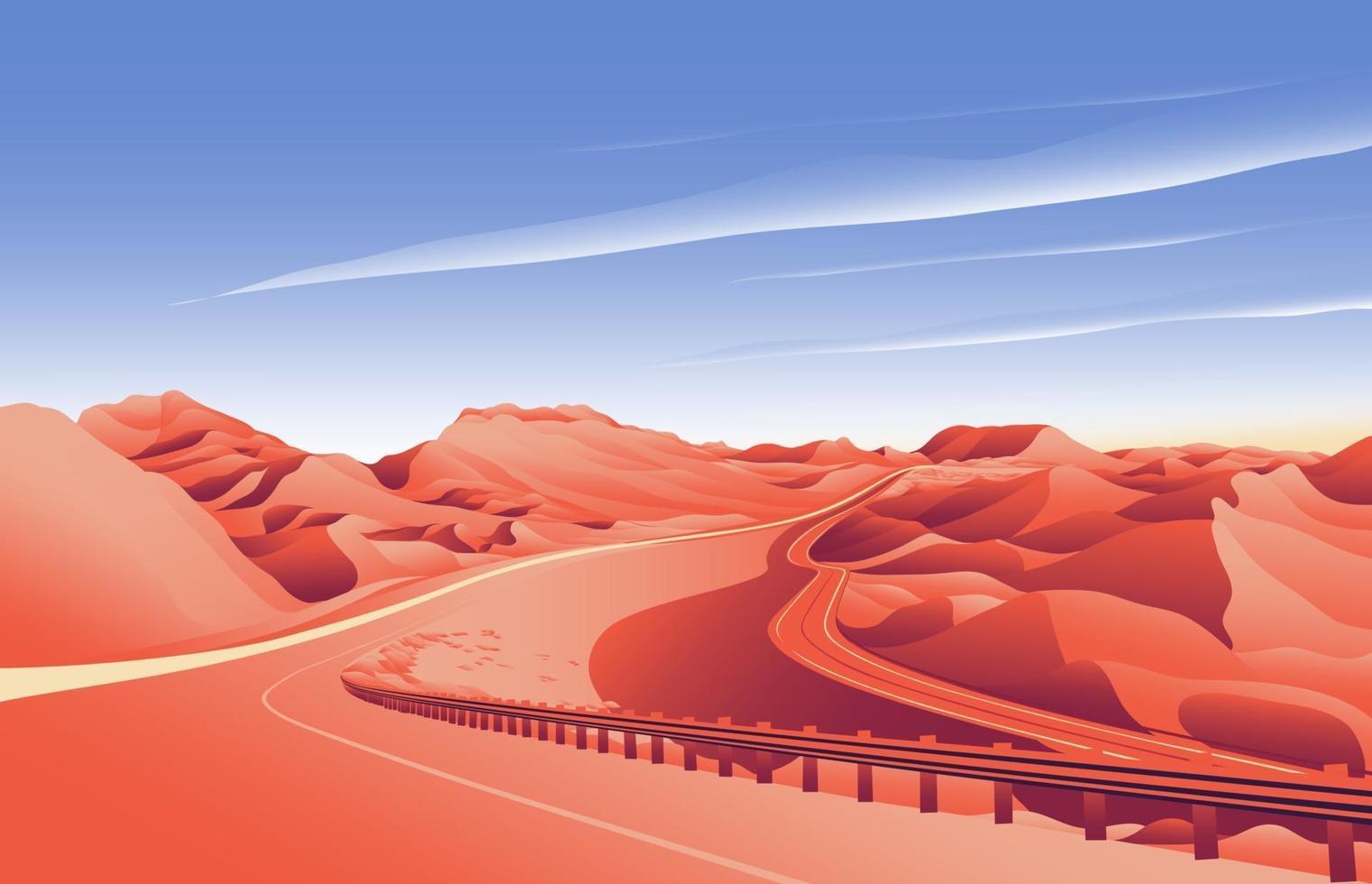 desert hill road landscape background vector