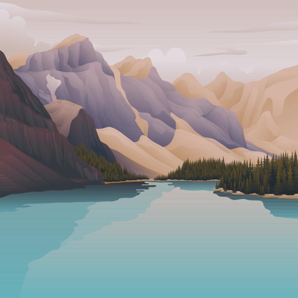 lago azul en la montaña vector