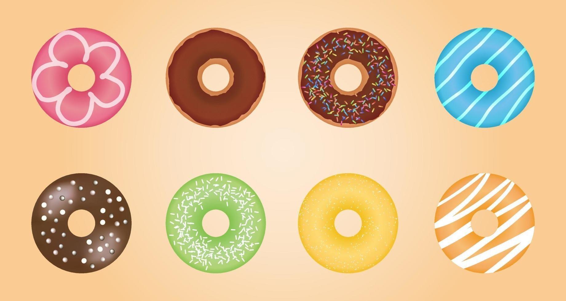 ilustración de conjunto de rosquilla vector