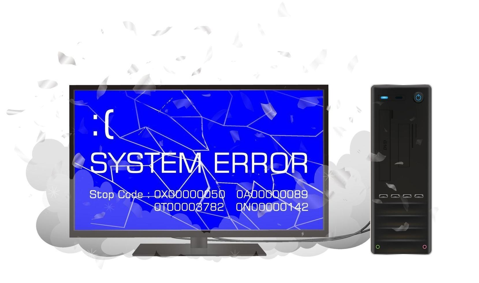computadora de escritorio con pantalla de error vector