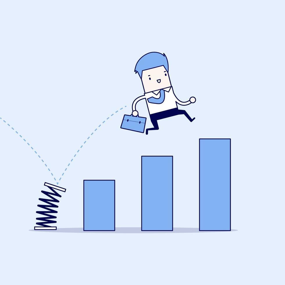El empresario salta a través del gráfico de barras en crecimiento. crecimiento por concepto de negocio. vector de estilo de línea fina de personaje de dibujos animados.