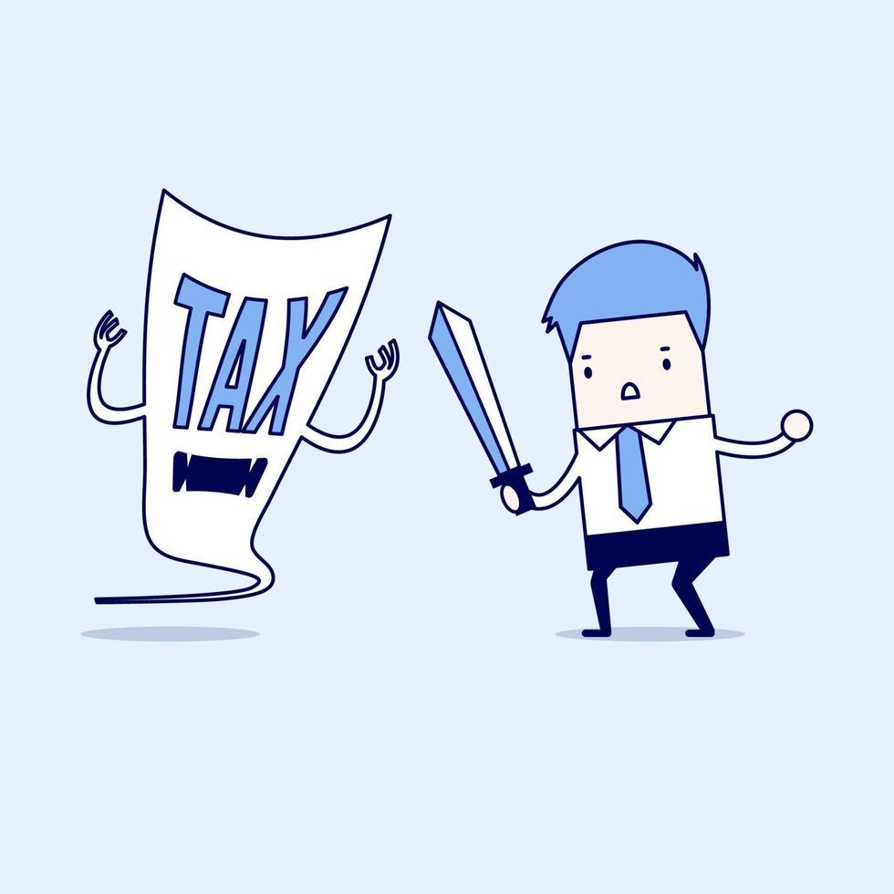 hombre de negocios lucha con un demonio fiscal con una espada. vector de estilo de línea fina de personaje de dibujos animados.