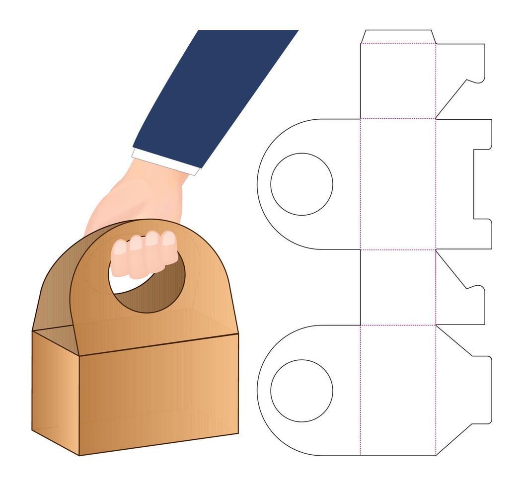 Diseño de plantilla troquelada de embalaje de bolsa de papel. Maqueta 3d vector