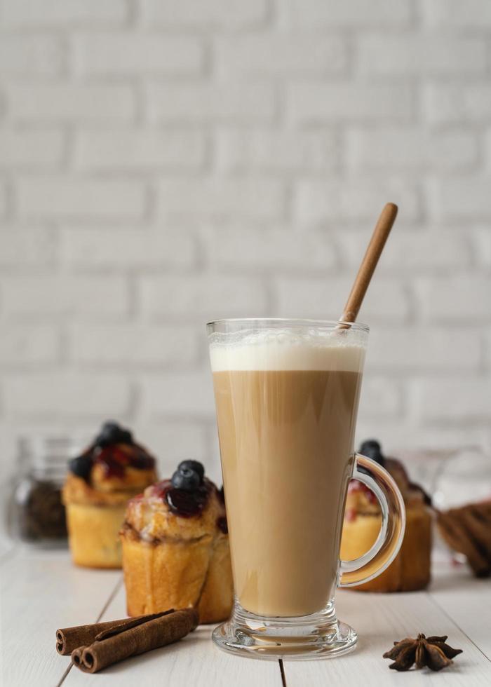 Hot drink and cinnamon rolls photo