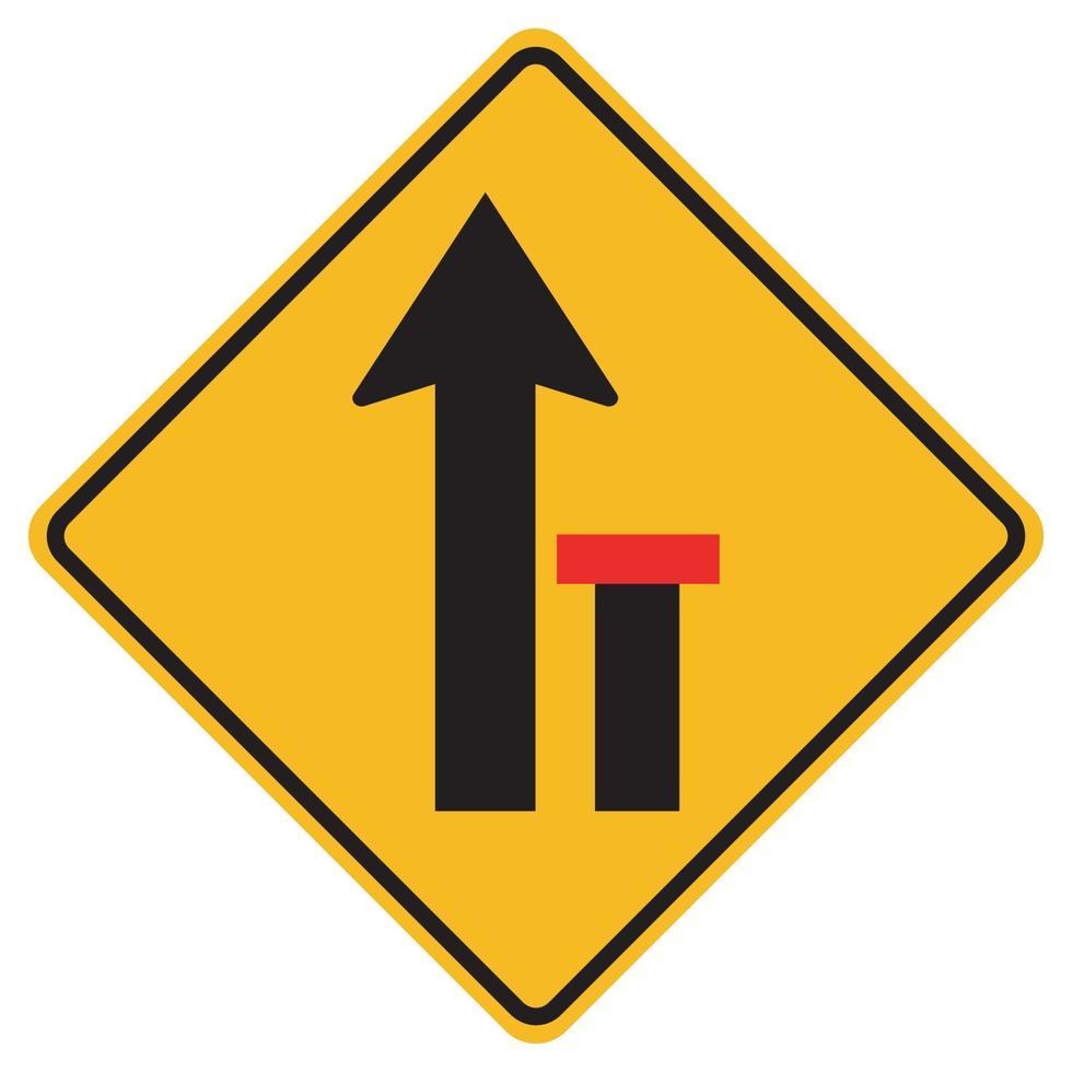 Señales de advertencia carril derecho termina sobre fondo blanco. vector