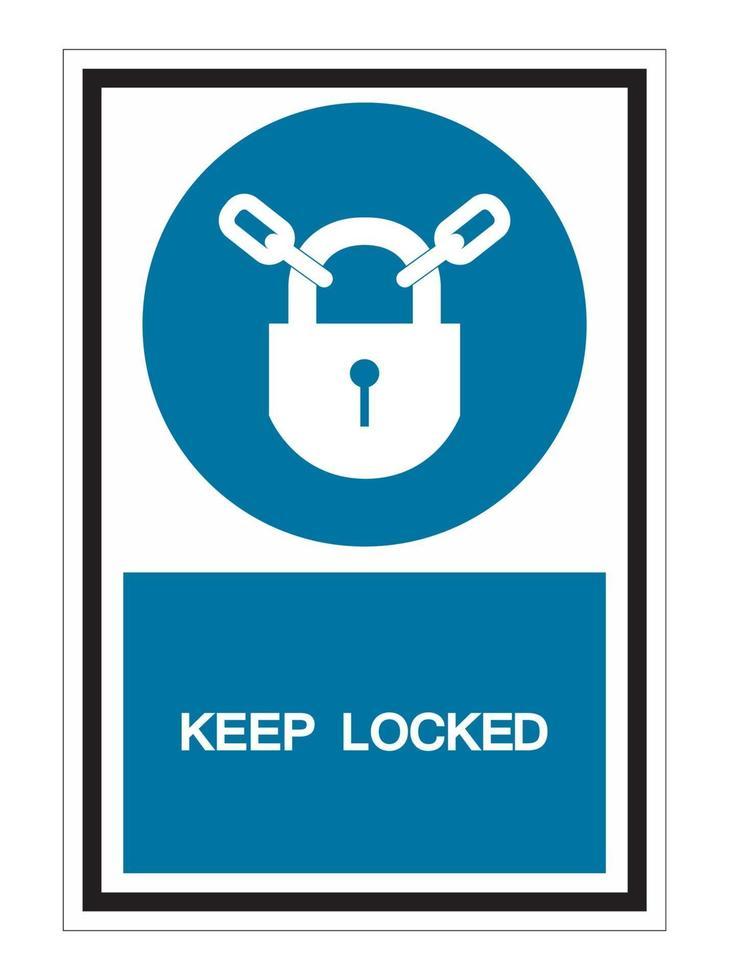 Mantener bloqueado signo de símbolo aislado sobre fondo blanco. vector