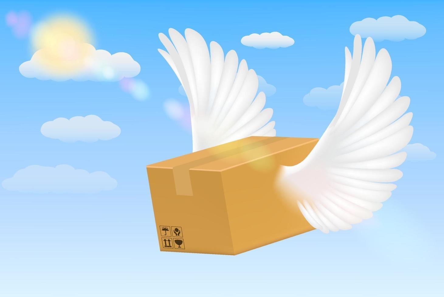 entrega caja de cartón corrugado con alas de pájaro volador vector