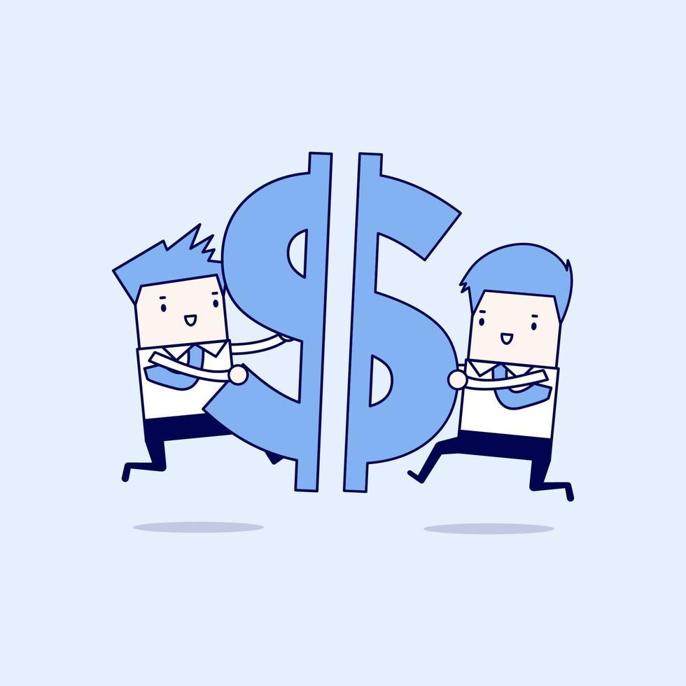 dos hombres de negocios, empujar, pedazos, de, un, dólar, señal, juntos vector