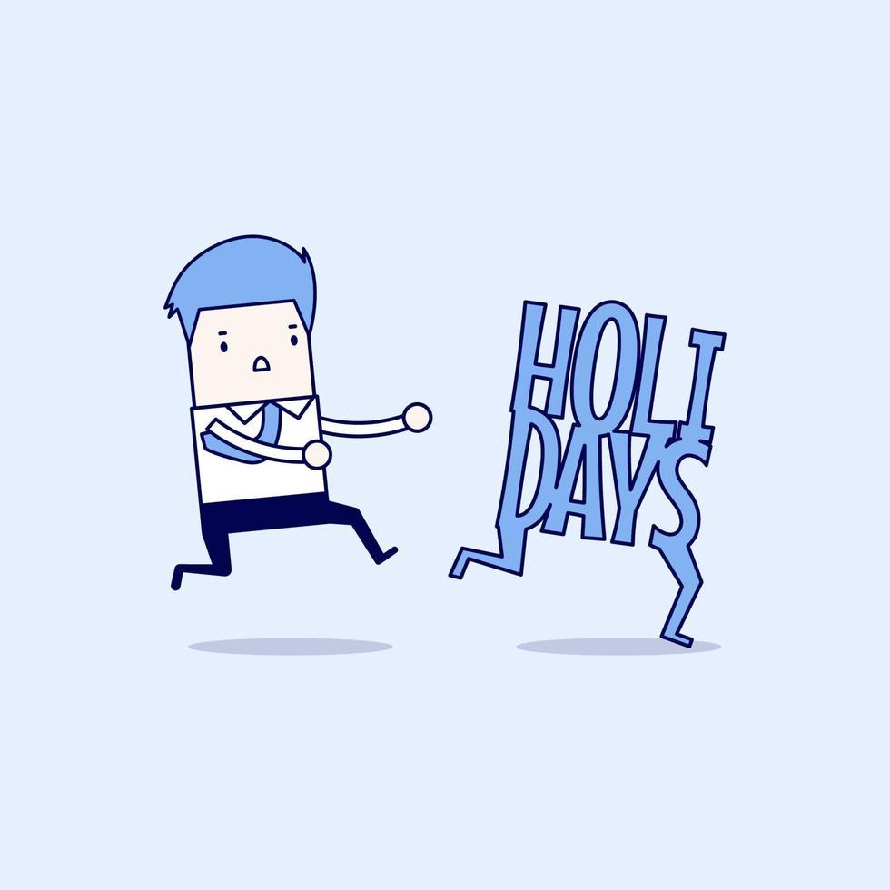 hombre de negocios corriendo ponerse al día con las vacaciones. vector de estilo de línea fina de personaje de dibujos animados.