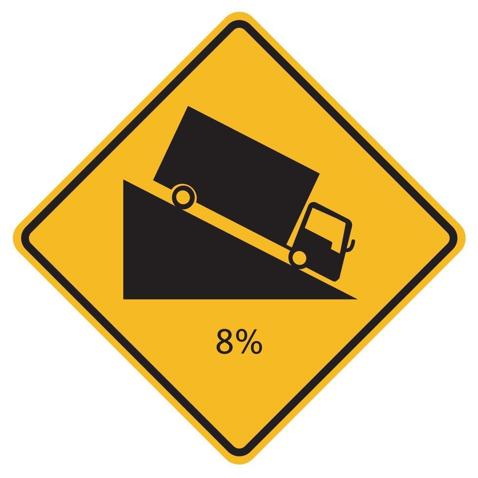 Señales de advertencia fuerte descenso sobre fondo blanco. vector