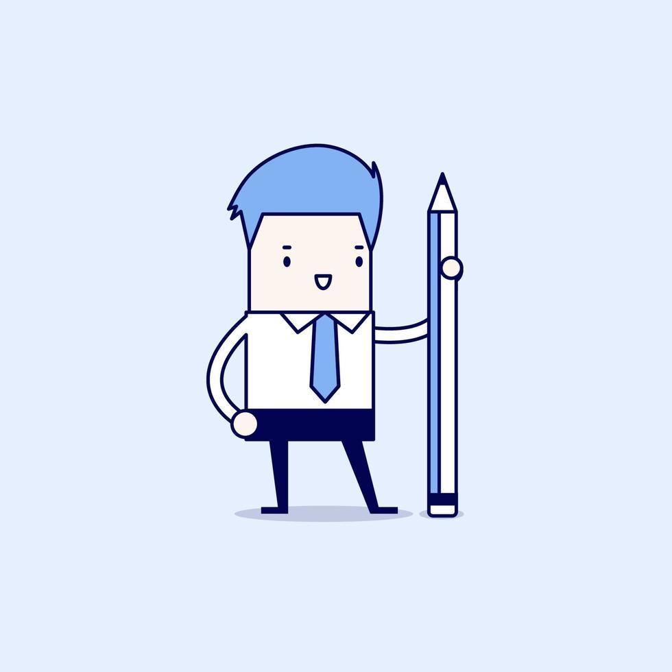 empresario de pie con lápiz. vector de estilo de línea fina de personaje de dibujos animados.