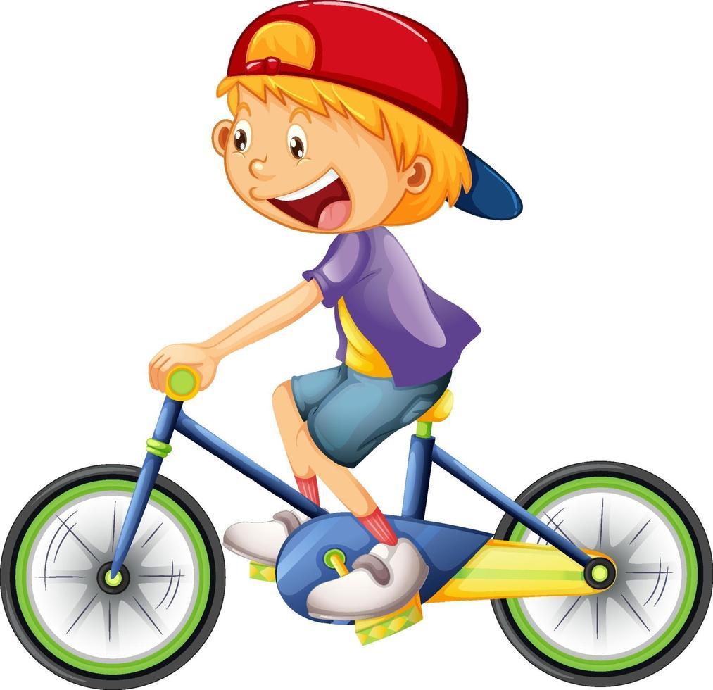 Un niño en bicicleta, personaje de dibujos animados aislado sobre fondo blanco. vector