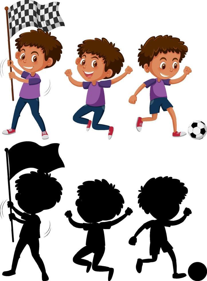 conjunto de un personaje de dibujos animados de niño haciendo diferentes actividades con su silueta vector