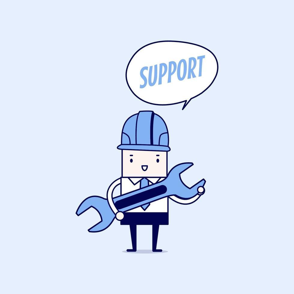 empresario sosteniendo una llave con soporte de texto de globo. vector de estilo de línea fina de personaje de dibujos animados.