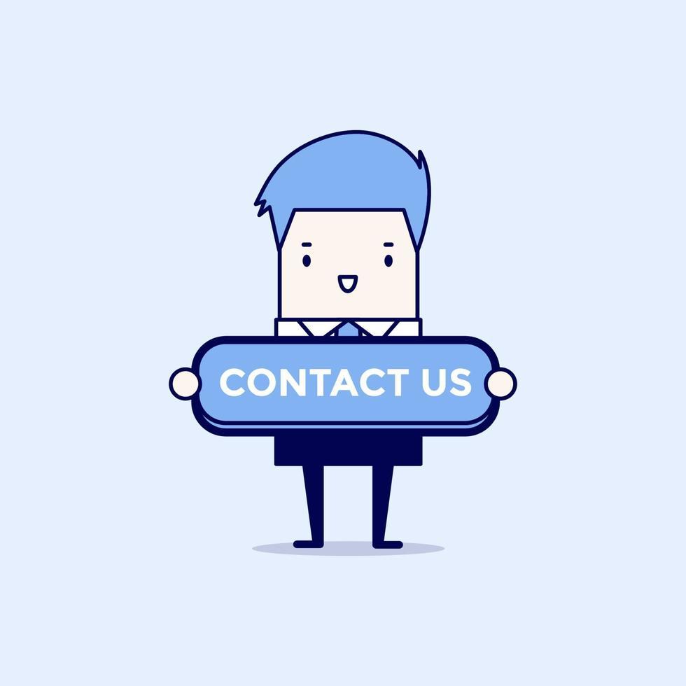empresario con botón de contacto. vector de estilo de línea fina de personaje de dibujos animados.