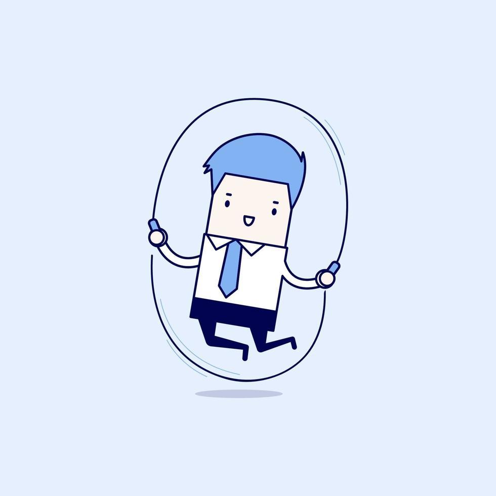 el empresario está saltando la cuerda. vector de estilo de línea fina de personaje de dibujos animados.