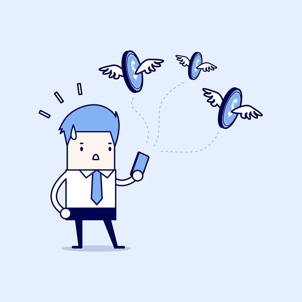 Businessman with money flying out from smartphone. Cartoon character thin line style vector. vector