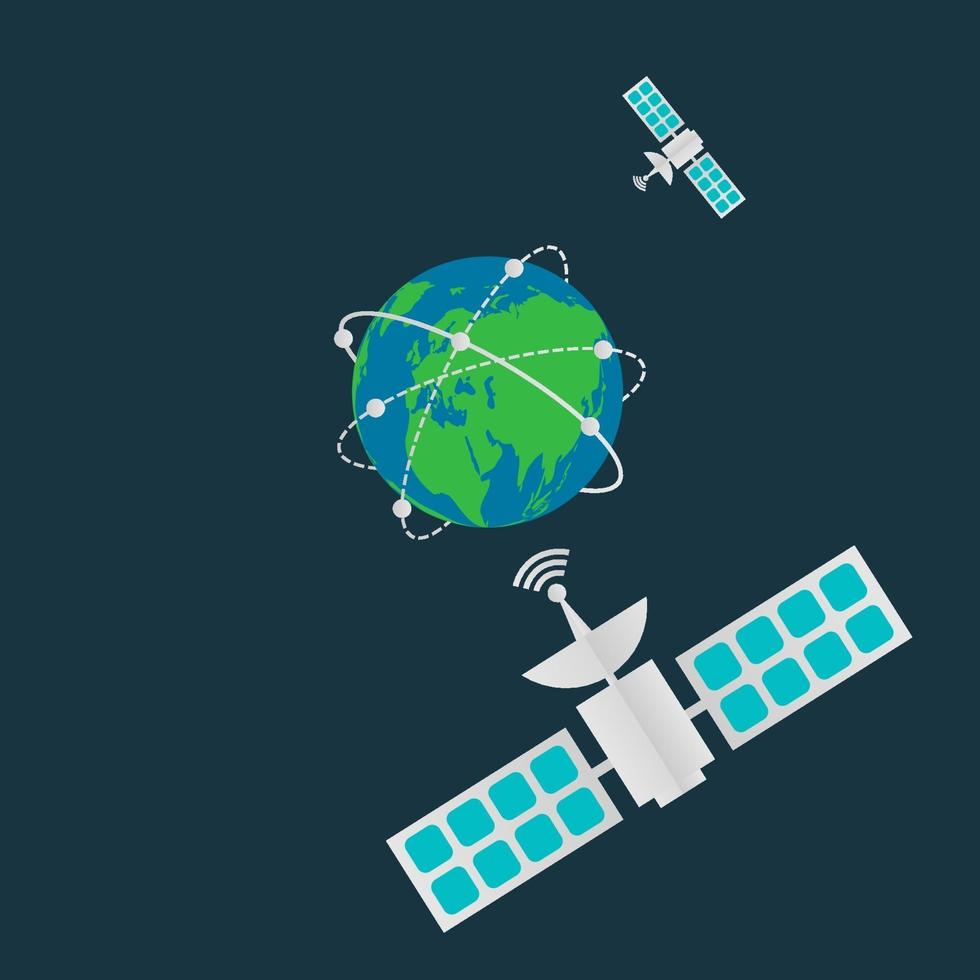 satélites de comunicación en órbita terrestre vector