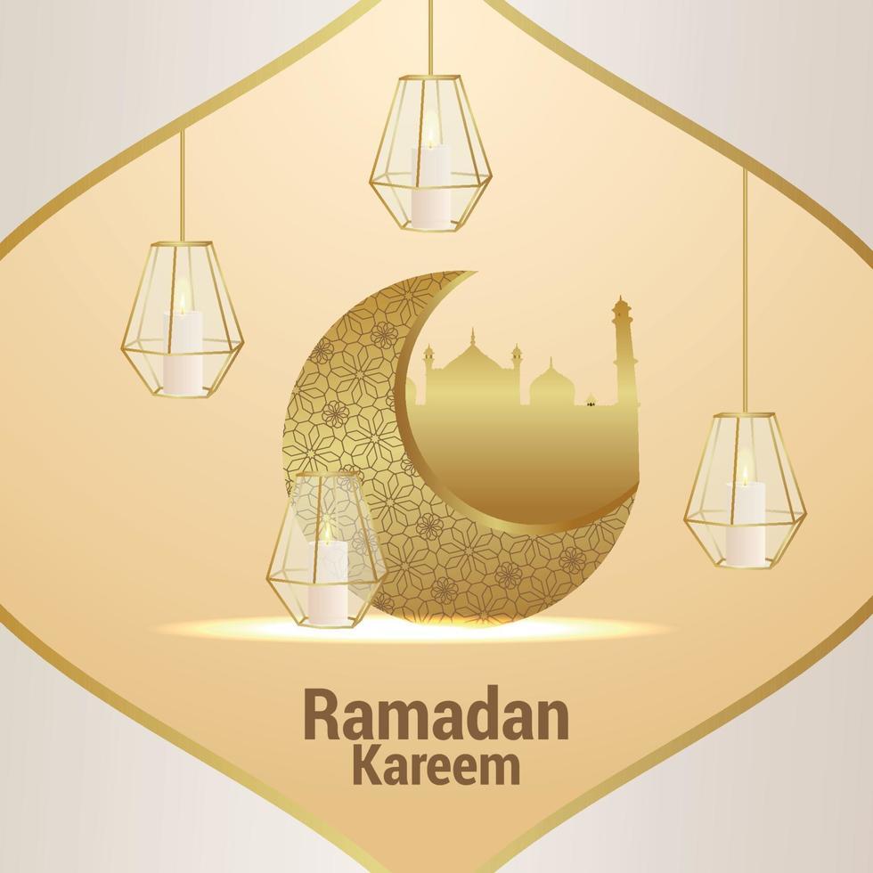 vector elegante adorno del festival islámico ramadan kareem. tarjeta de felicitación de invitación con fondo creativo