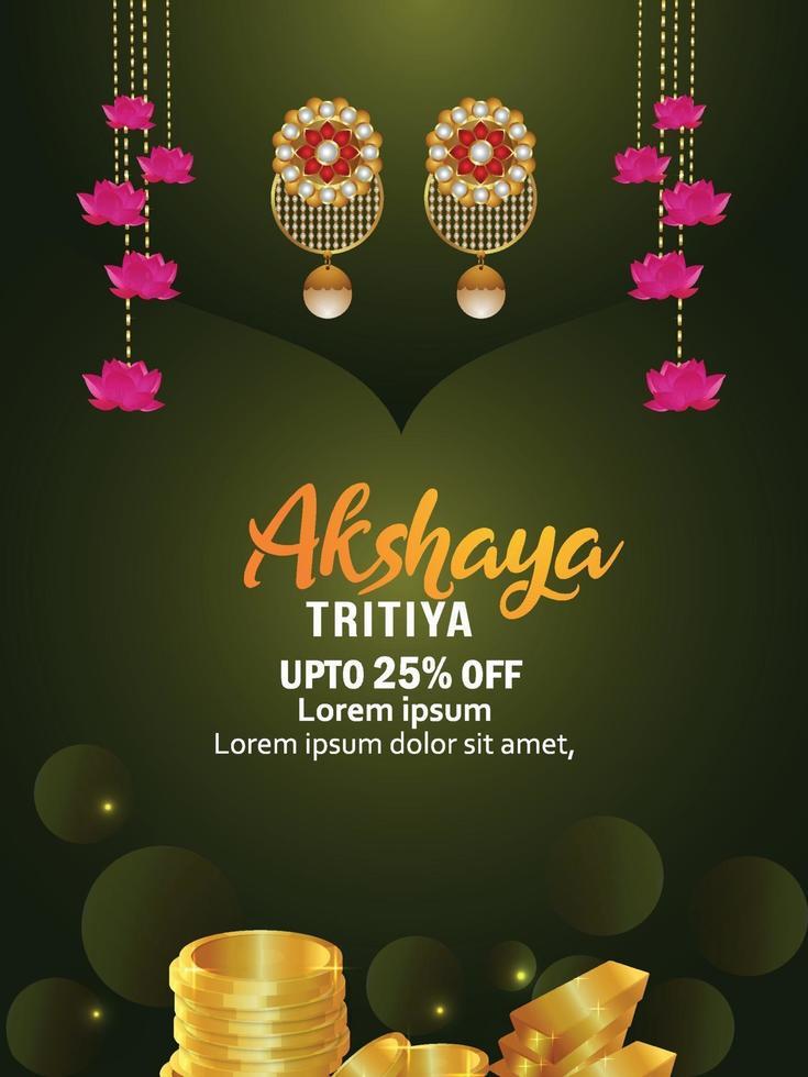 Ilustración vectorial de la tarjeta de felicitación de celebración akshaya tritiya con aretes de oro vector