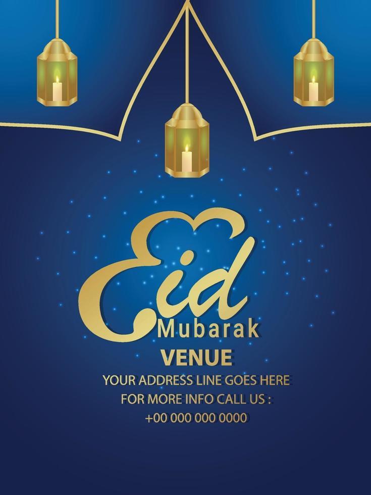 Folleto de fiesta de invitación del festival islámico eid mubarak con linterna de vector sobre fondo azul