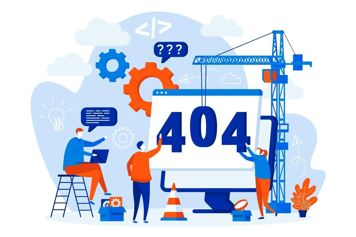 404 page error concept with people characters vector