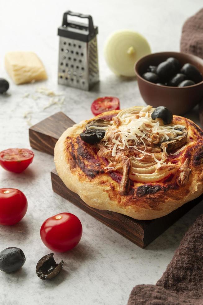 composición de pizza casera foto