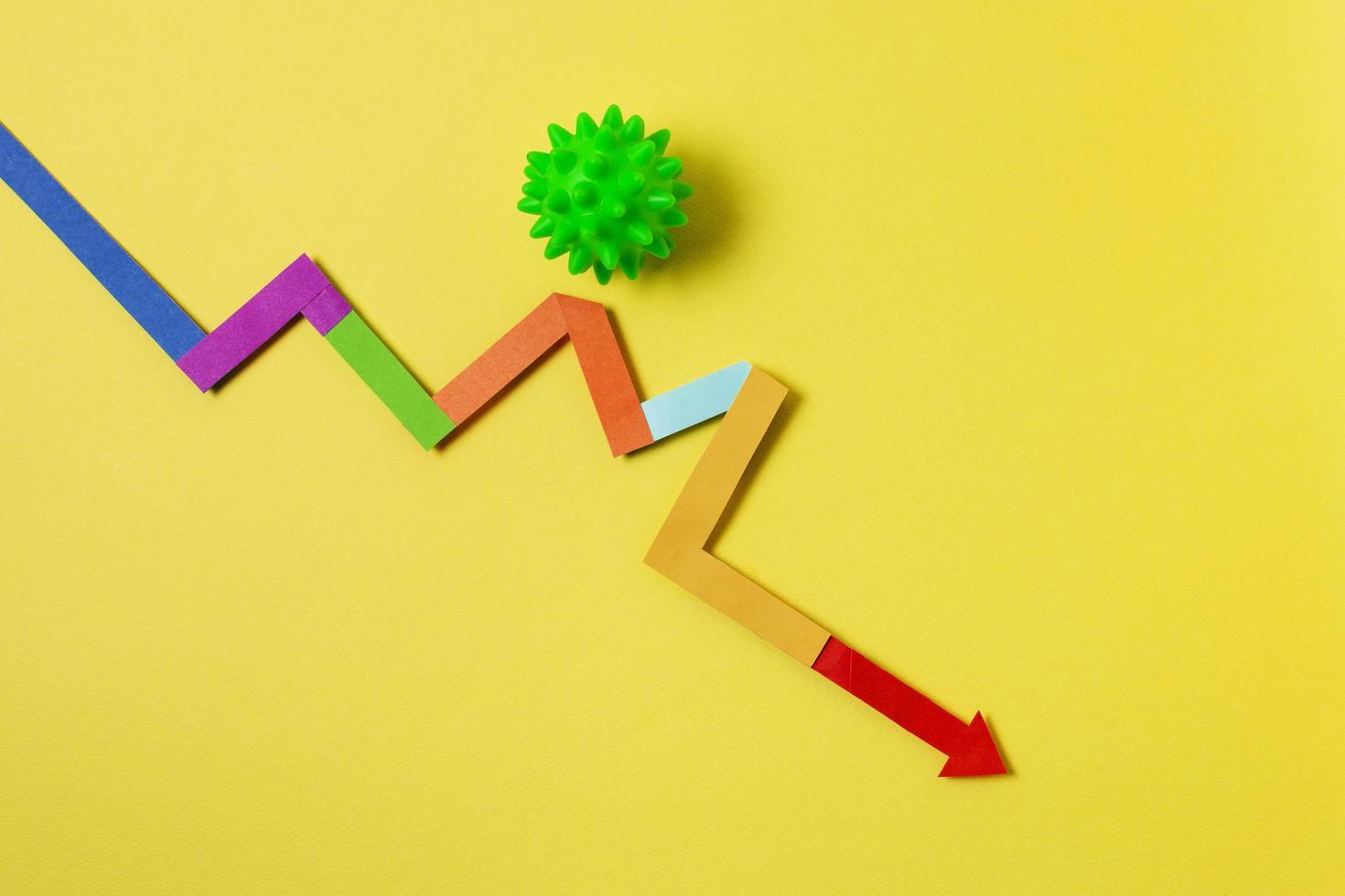 concepto de covid con flecha colorida foto
