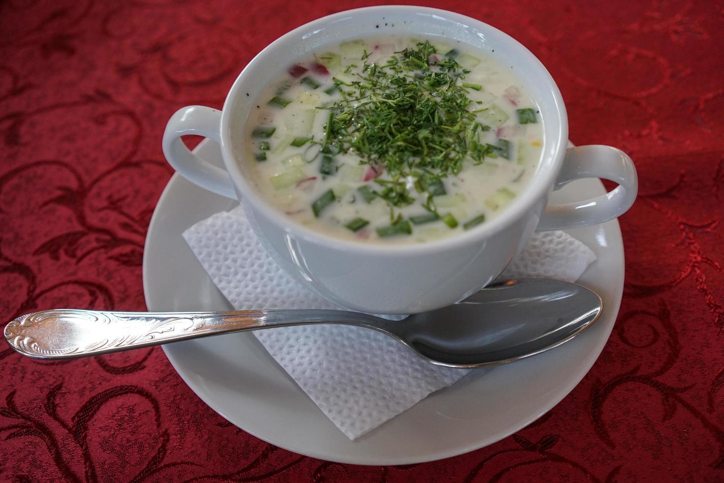 comida rusa nacional okroshka sopa fría en un plato blanco foto