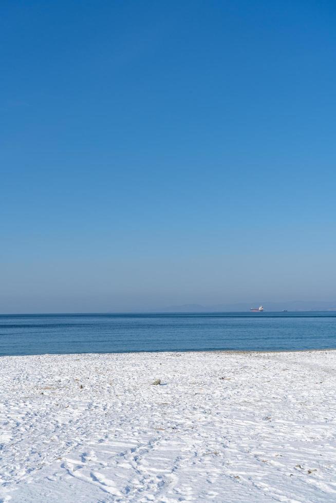 paisaje marino con una playa en la nieve foto