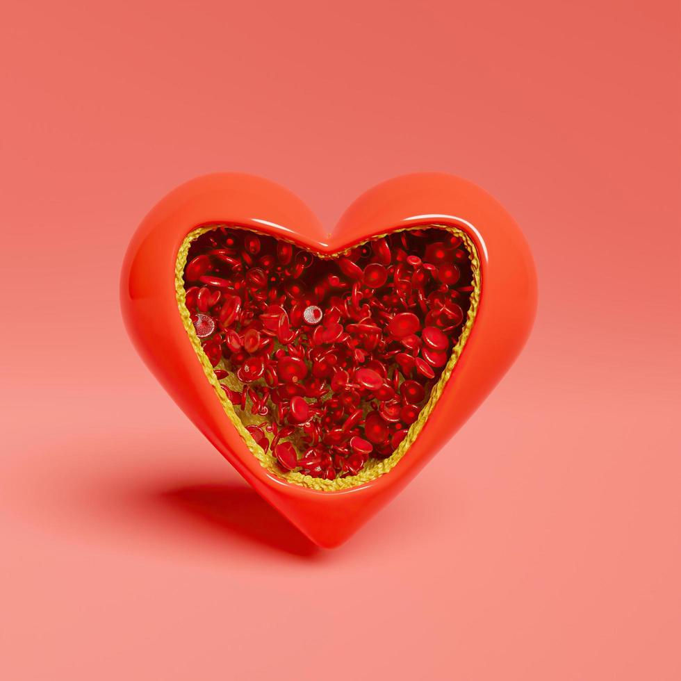 Open heart-shaped full of red blood cells with cholesterol covering its interior photo