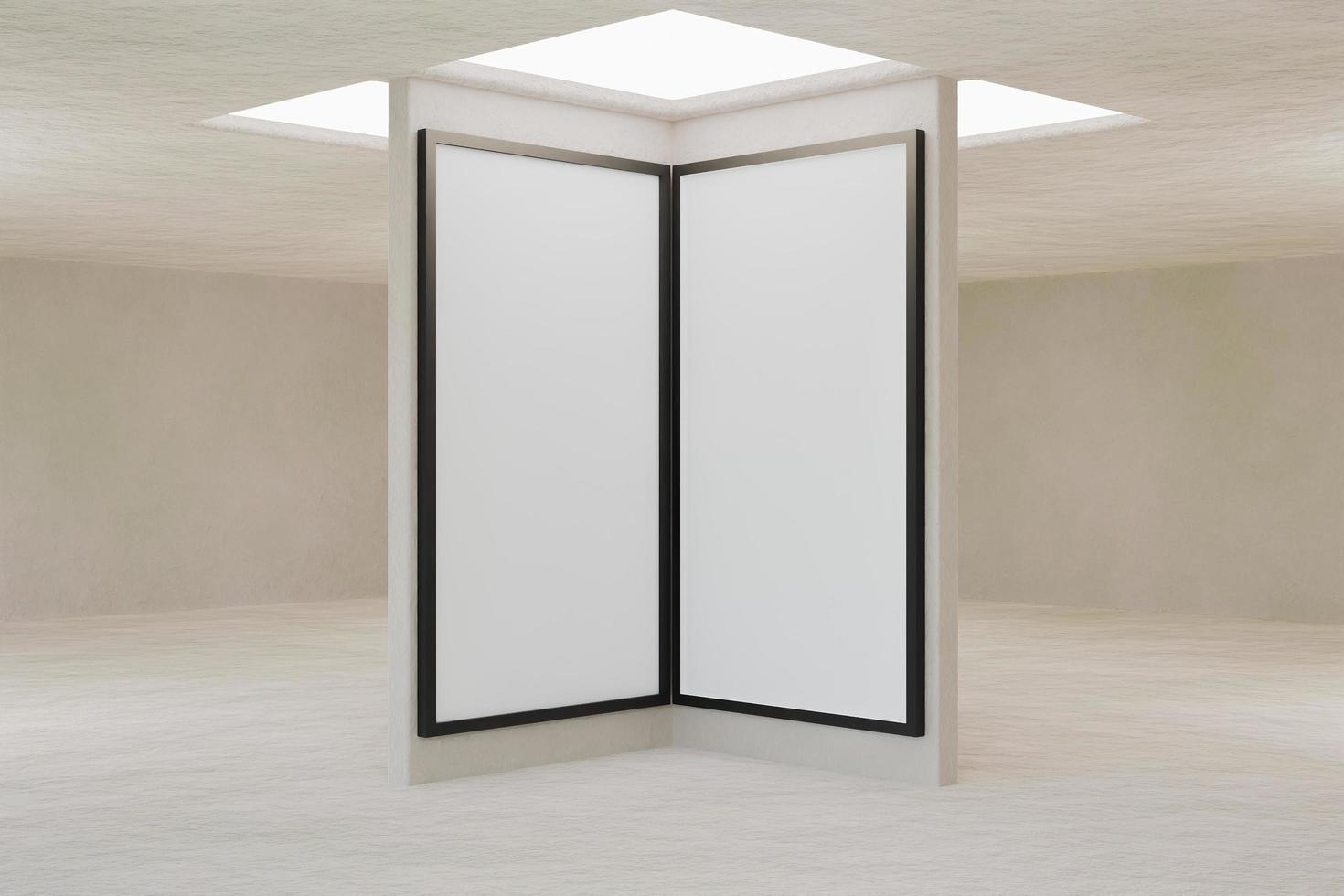 Interior of empty room with roof window and mockup of frames photo