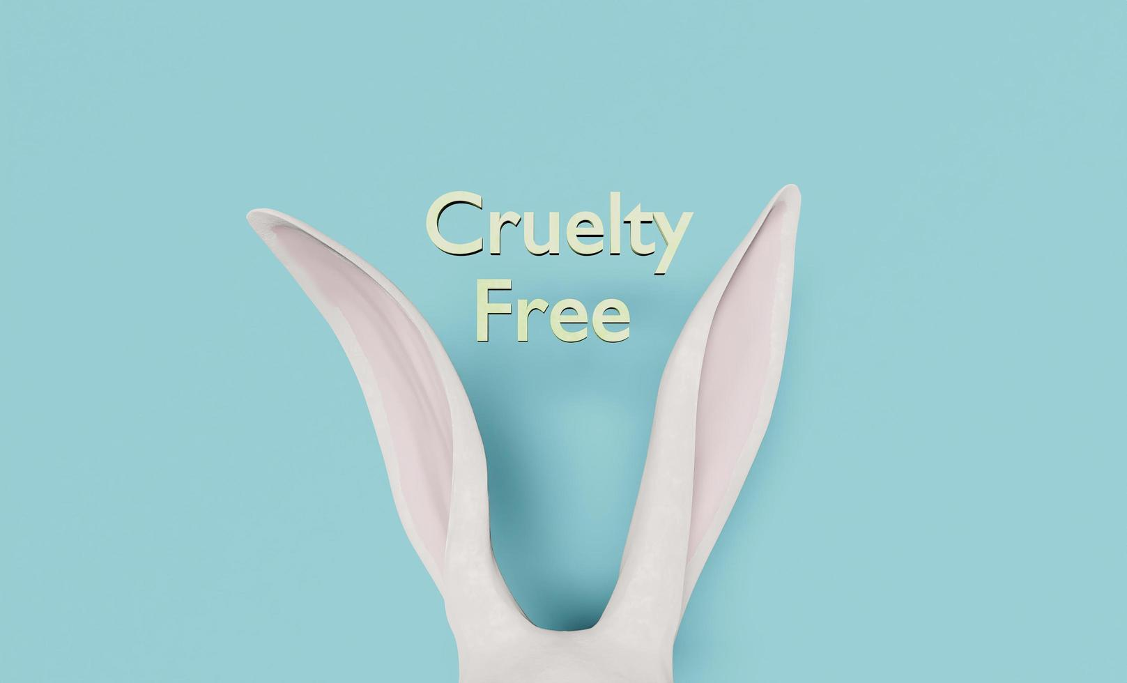White rabbit ears peeking out with CRUELTY FREE sign. 3d rendering photo