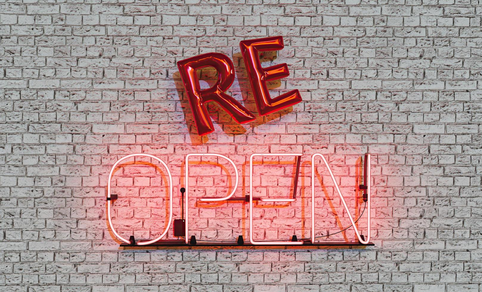 Neon sign with the word RE-OPEN and balloons hanging on brick wall. Business reopening. 3d rendering photo