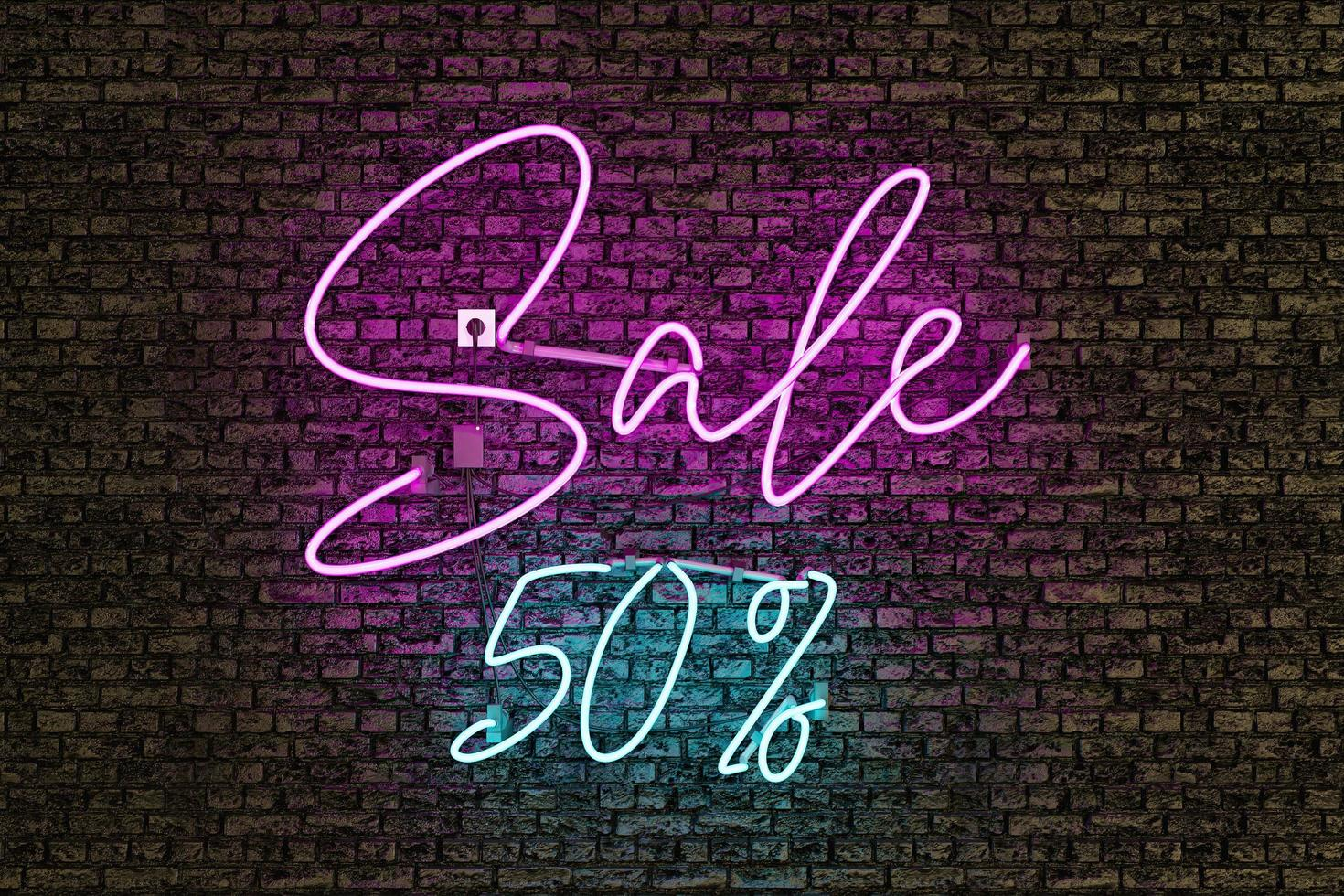 Realistic neon lamp with the word SALE and discount number photo