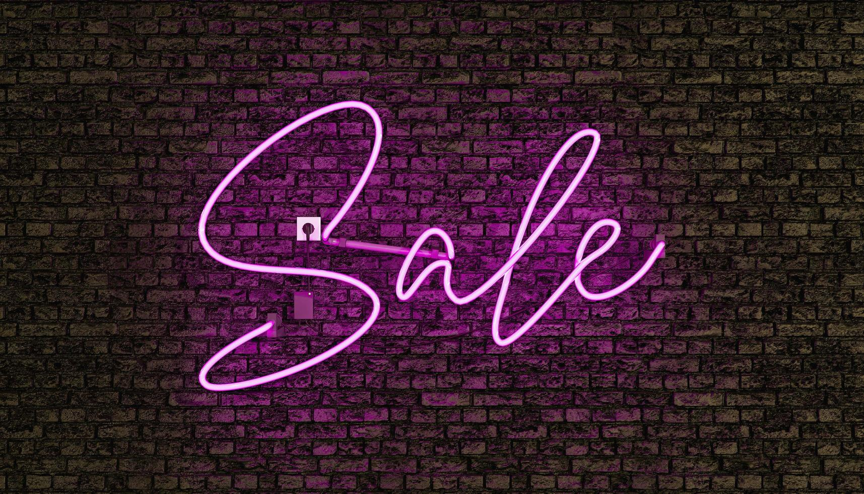 Realistic neon lamp with the word SALE in pink photo