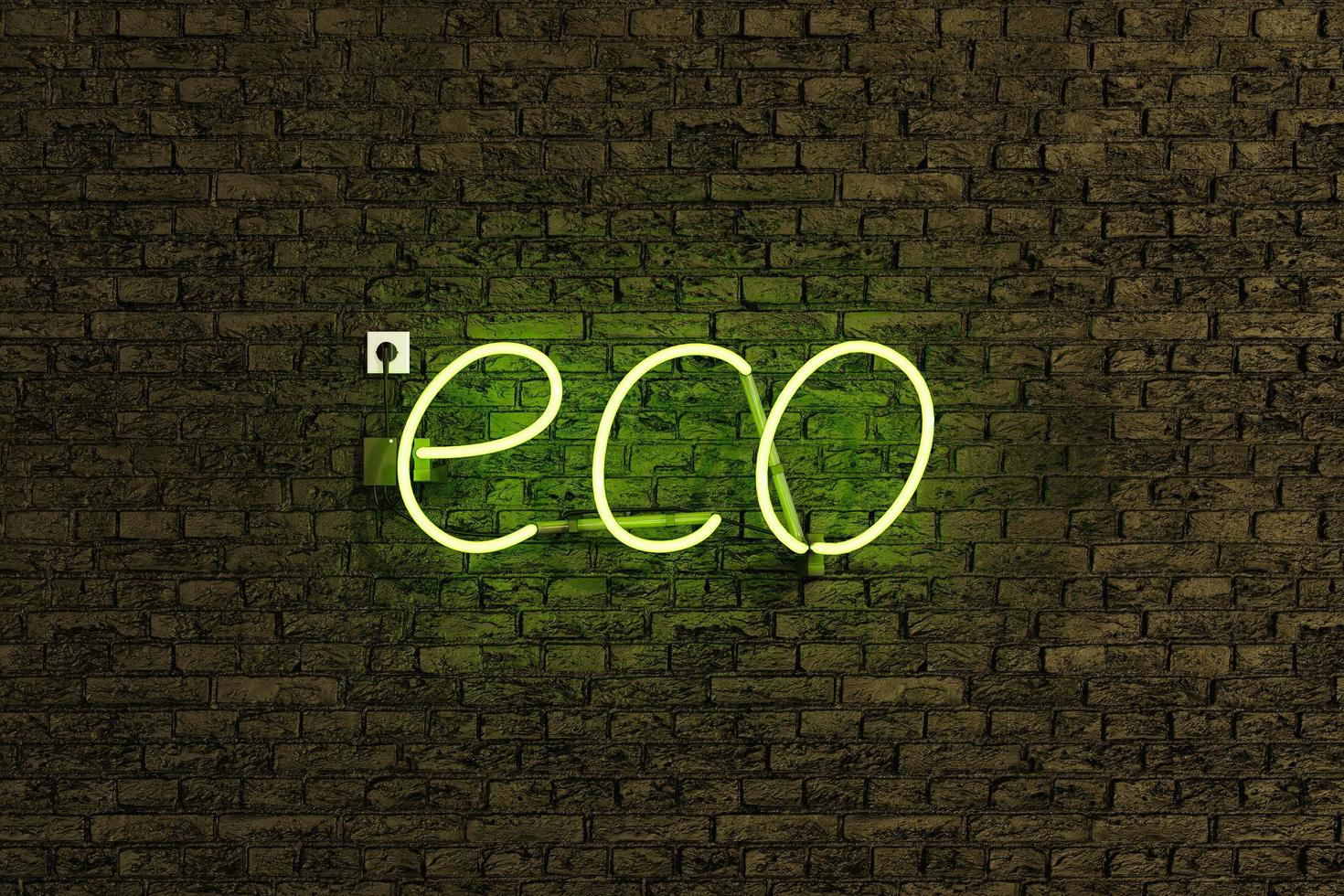 Neon lamp sign with the word ECO photo