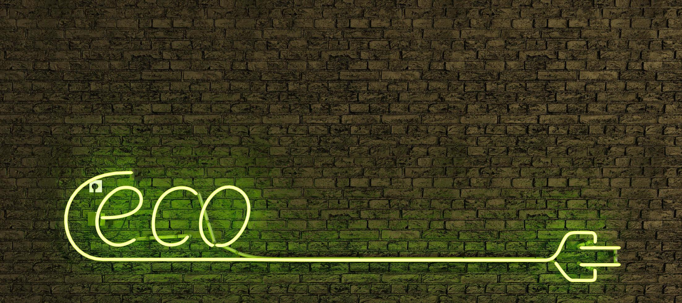 Neon lamp sign with the word ECO and long plug with copy space photo