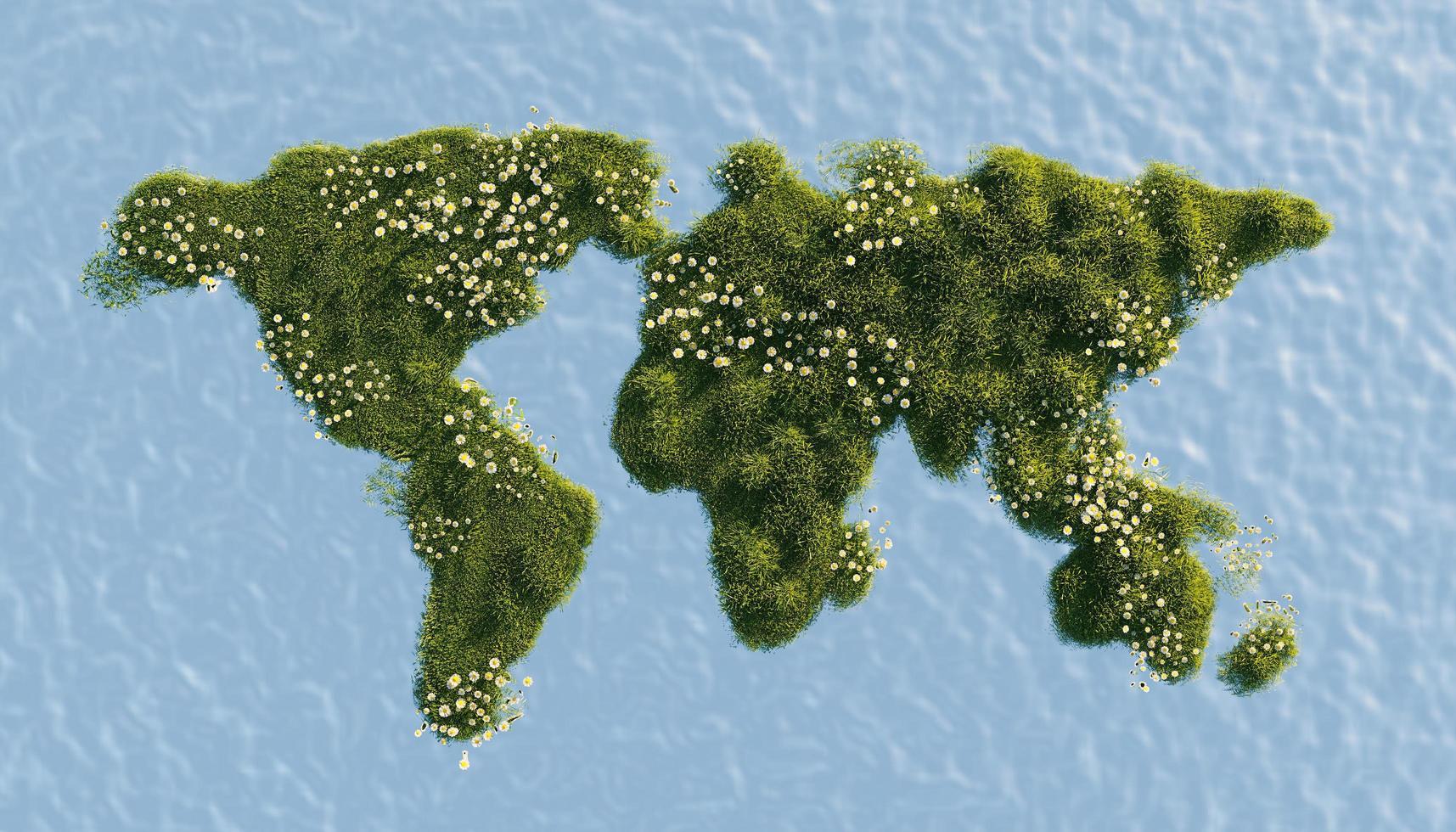 World map full of vegetation and spring flowers photo