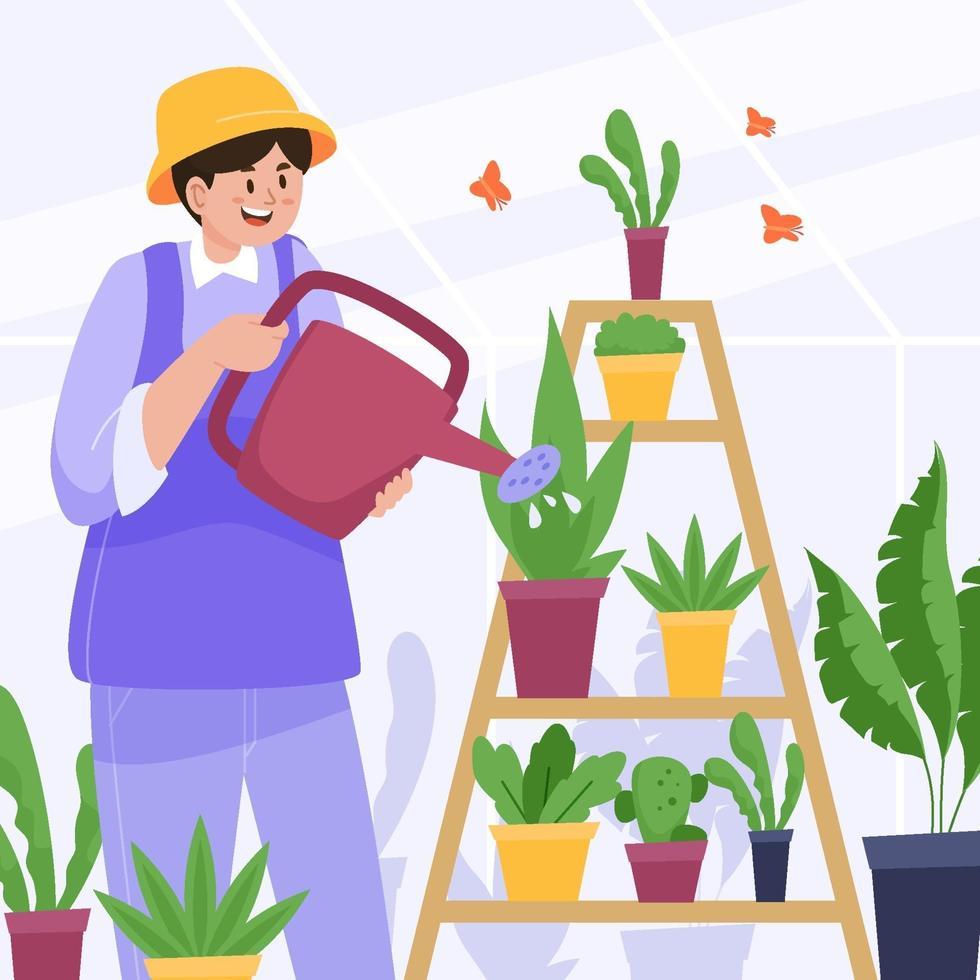 Man Watering Plants in Greenhouse vector