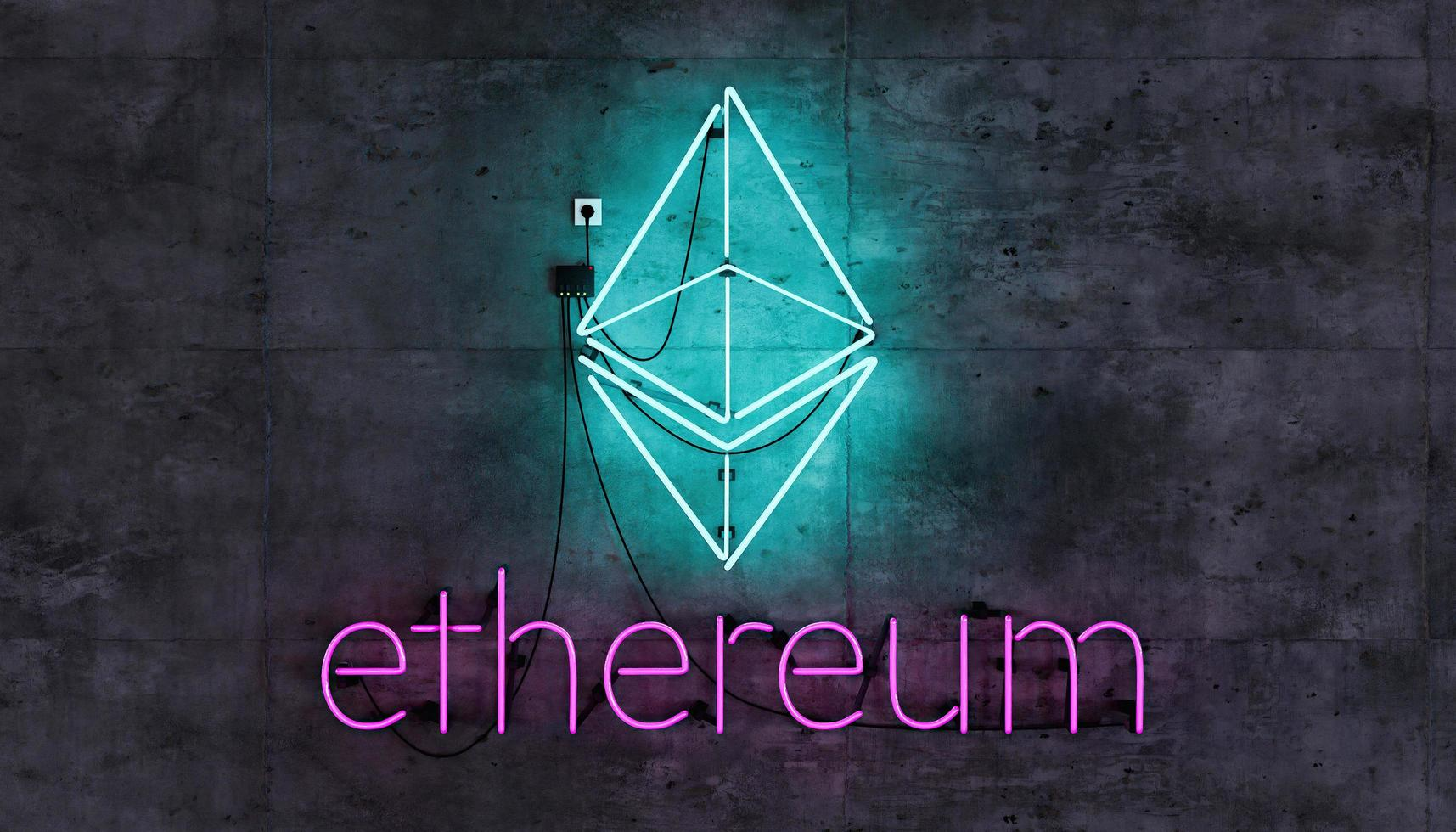 Ethereum symbol on neon lamp on concrete wall photo