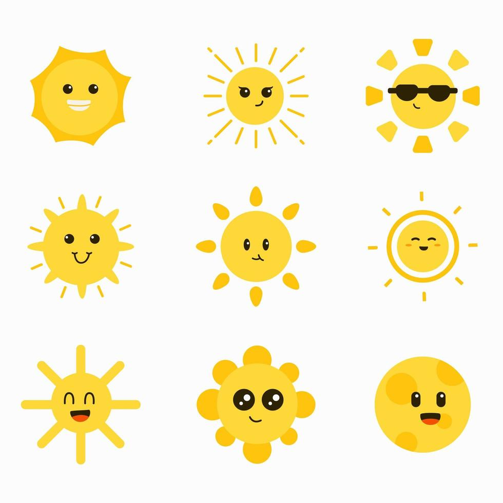 Cute Sun Character Element Collection vector